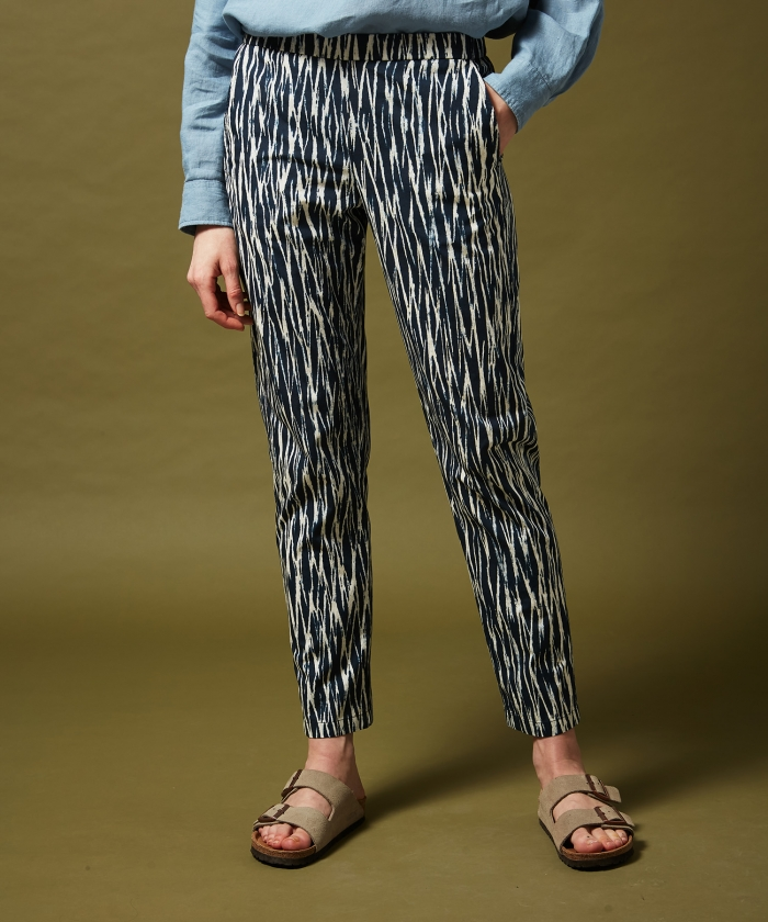 Navy lines printed Paolo pants
