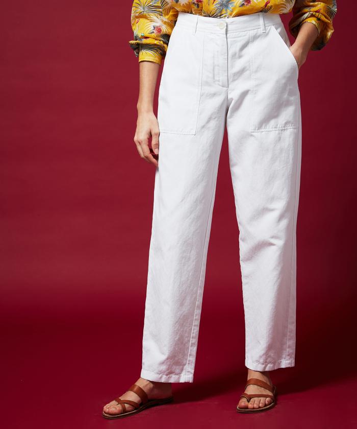 Pastor white cotton linen pants