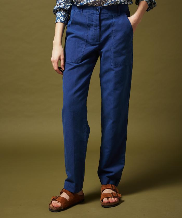 Pantalon Pastor en coton et lin bleu