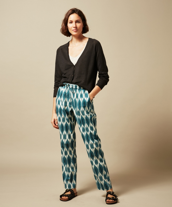 Perline blue Ikat pants