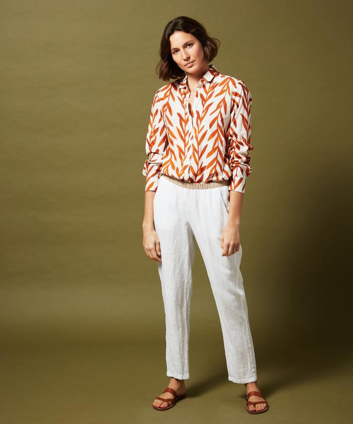 Pantalon Pirouette en lin blanc