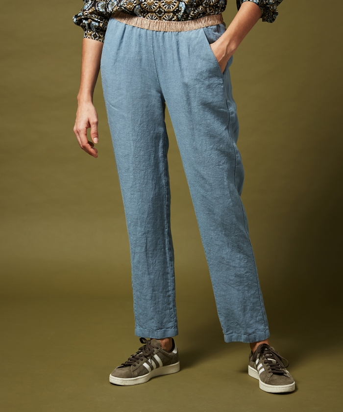 Horizon blue linen Pirouette pants