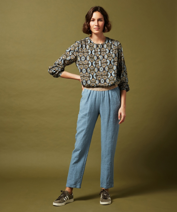 Pantalon Pirouette en lin bleu horizon