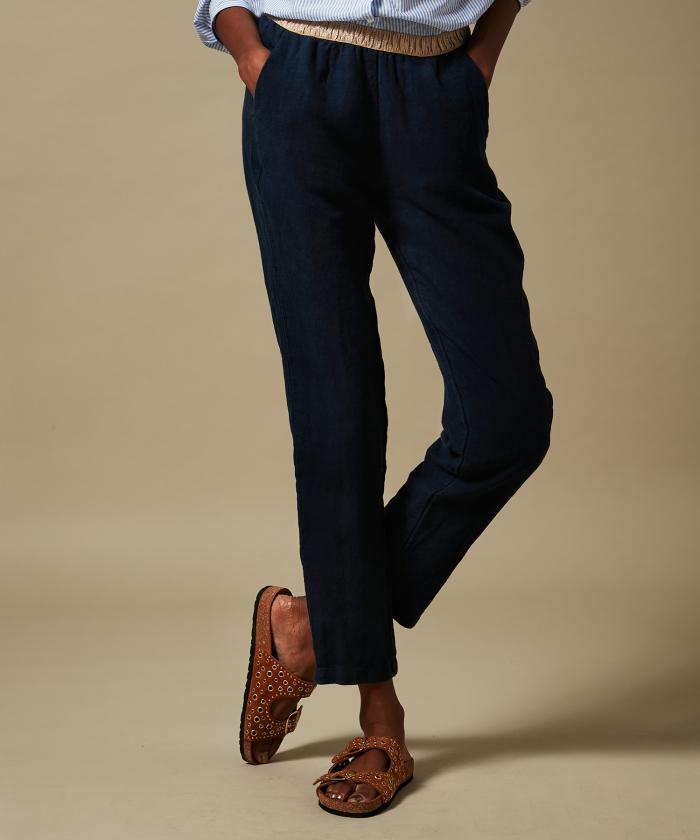 Night blue linen Pirouette pants