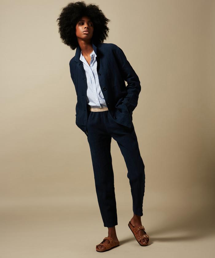 Pantalon Pirouette en lin bleu