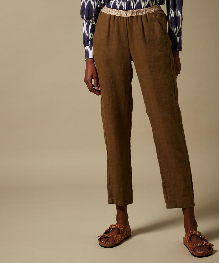 Yucca brown linen Pirouette pants