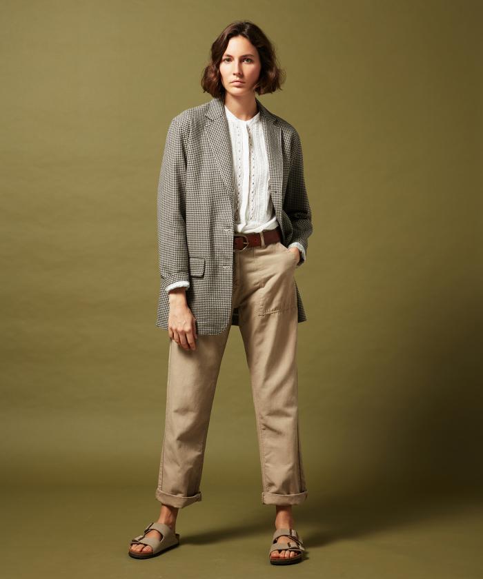 Pantalon Poly en coton et lin khaki
