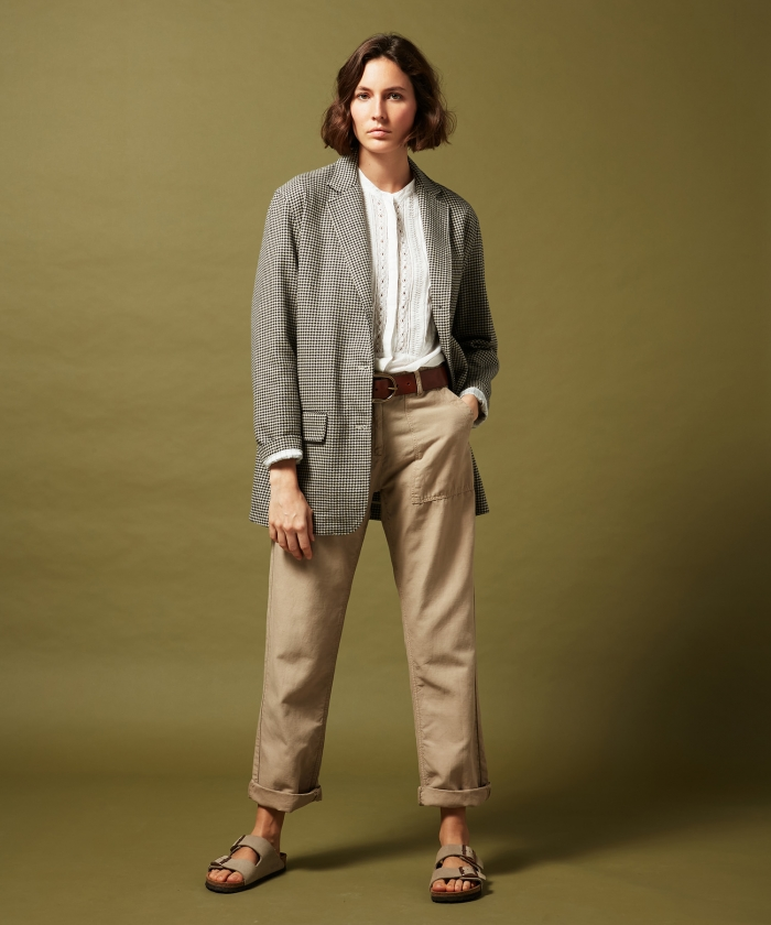 Poly khaki linen cotton pants