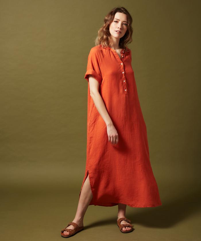 Raglan linen dress