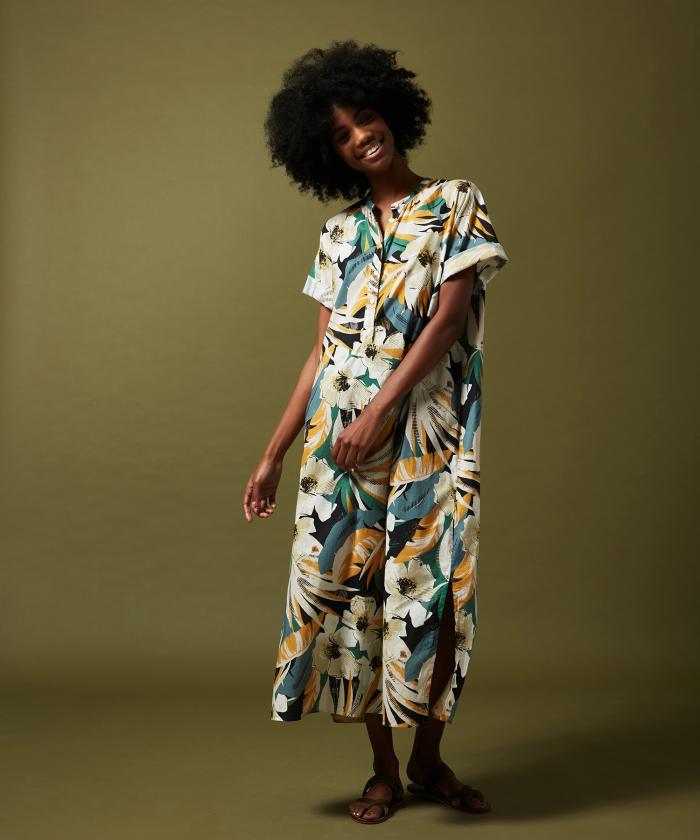 Raglan floral cotton dress