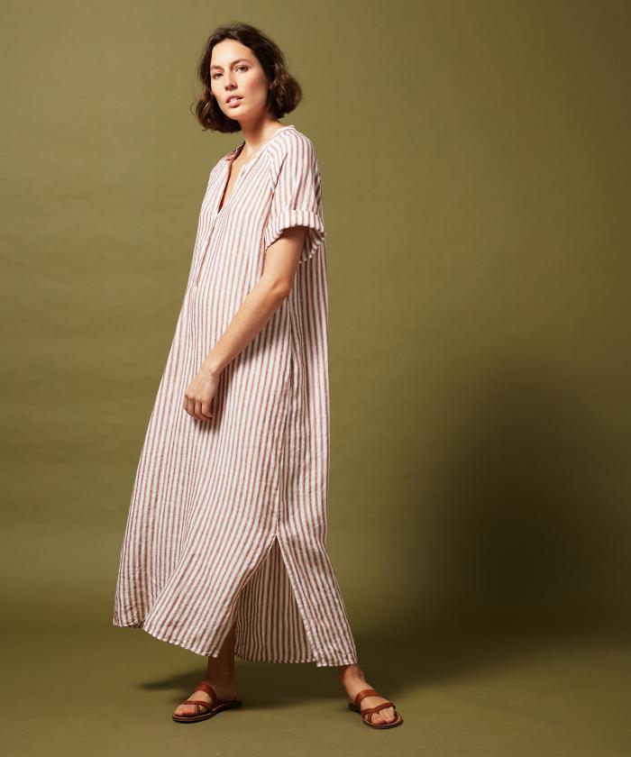 Raglan striped linen dress