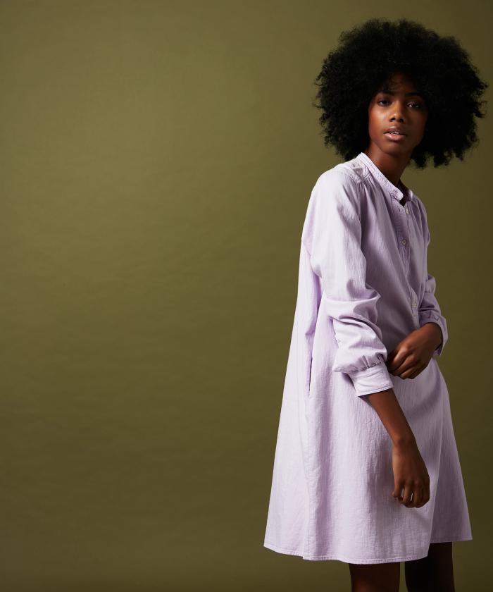 Ravel dress in lavender cotton drill