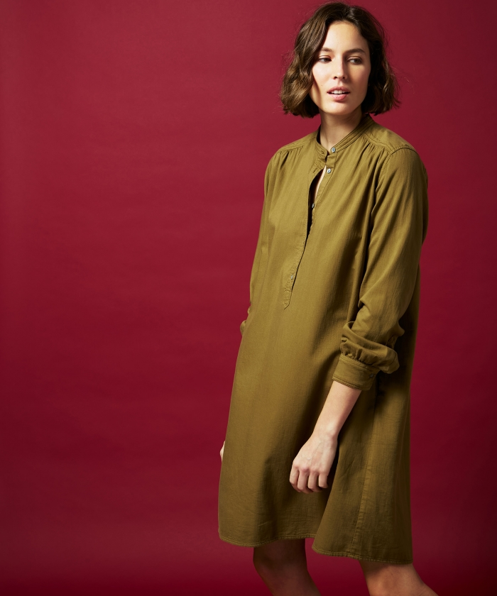 Ravel dress in yucca brown cotton drill