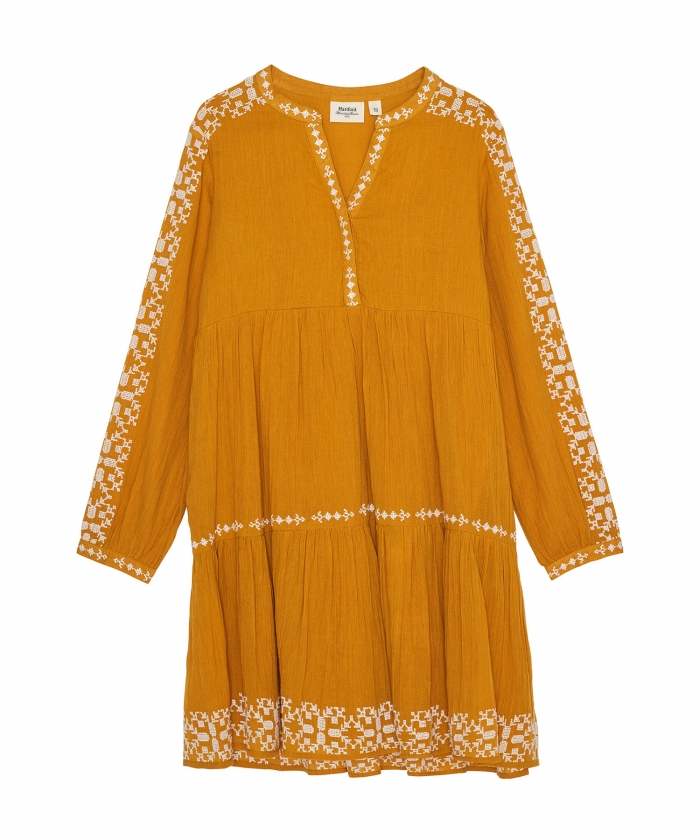 Rubis yellow embroidered dress