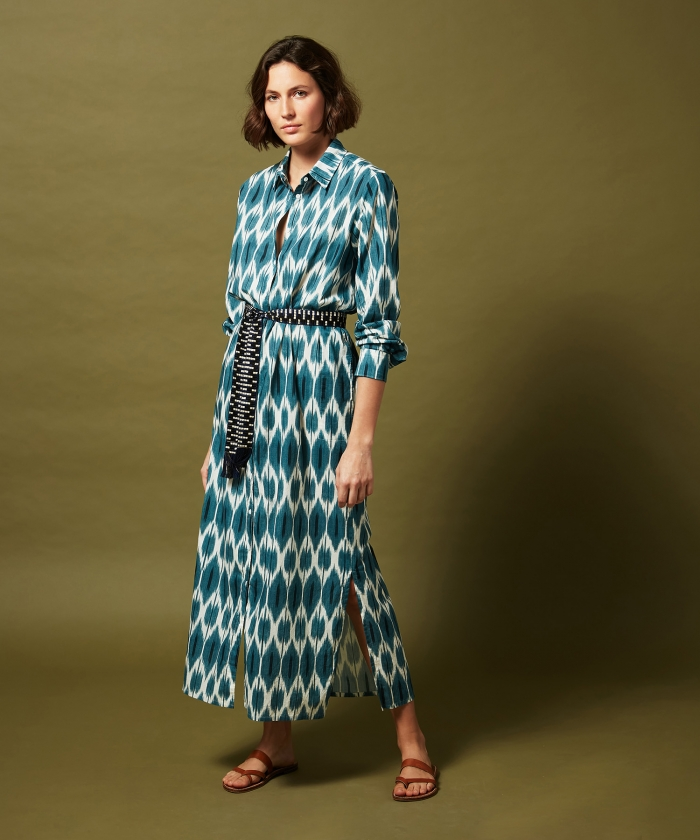 Blue Ikat Reaction dress