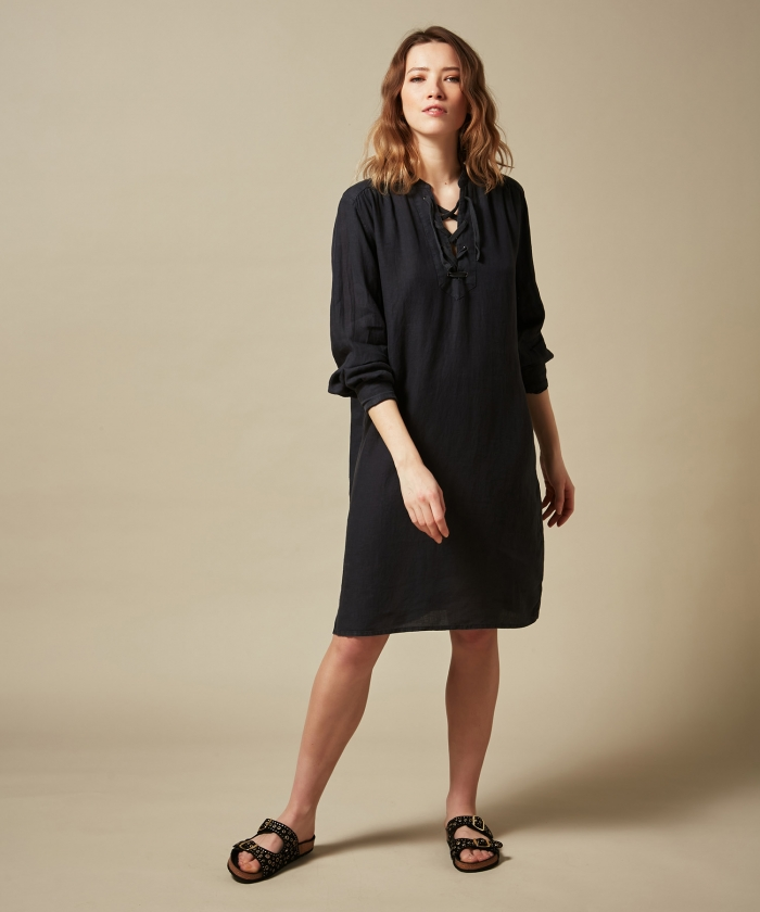 Charcoal Reference linen dress