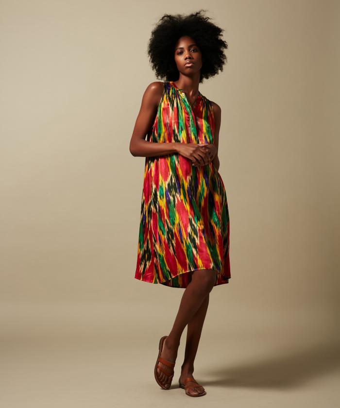 Rona sleeveless red Ikat dress