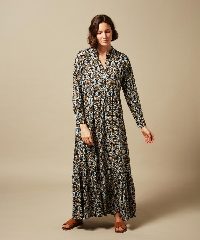 Riad fan-printed long dress