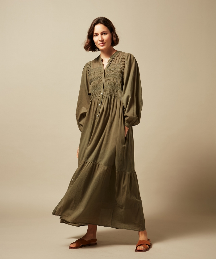 Rina embroidered cotton voile dress