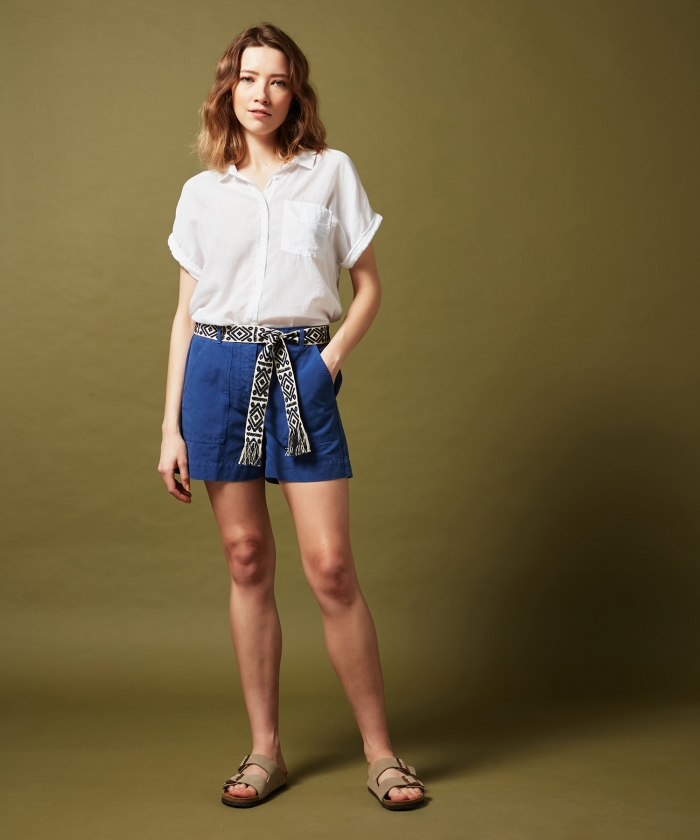 Selby blue cotton and linen shorts
