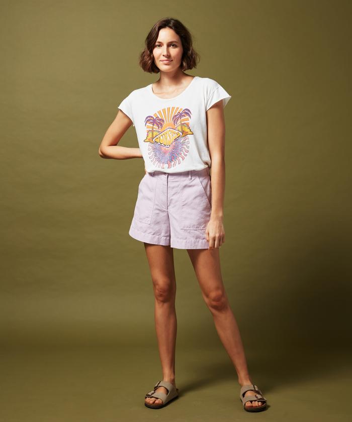 Short Selby en coton et lin lavande