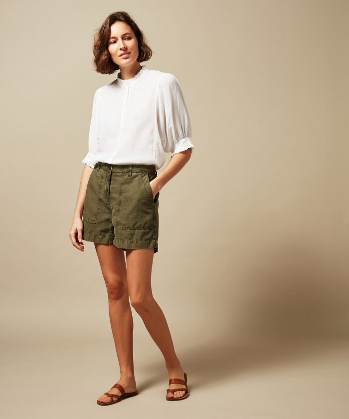 Saran army linen and cotton shorts