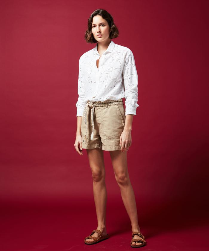 Saran khaki linen and cotton shorts