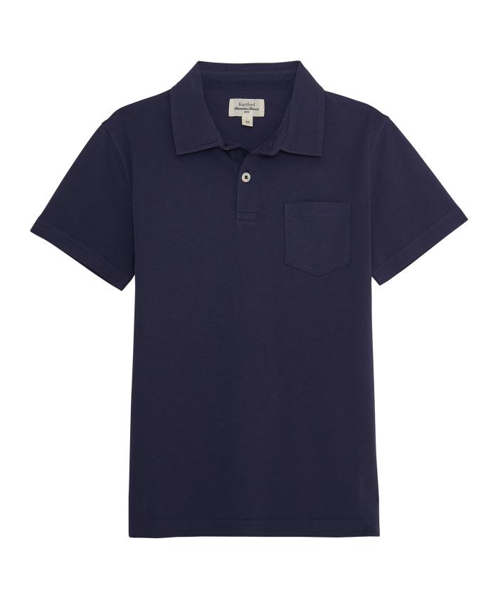 Navy cotton jersey polo