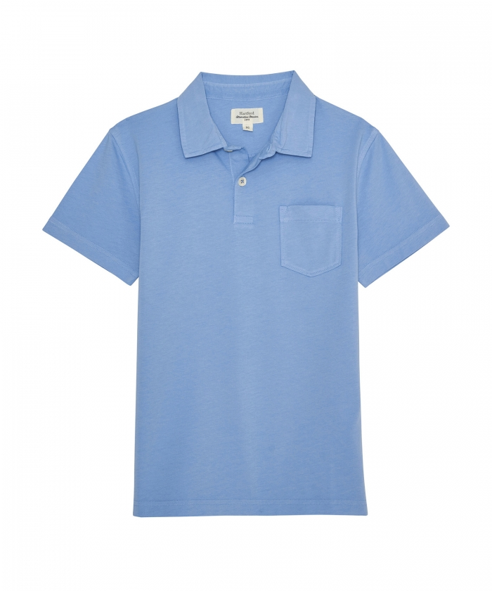 Chambray cotton jersey polo