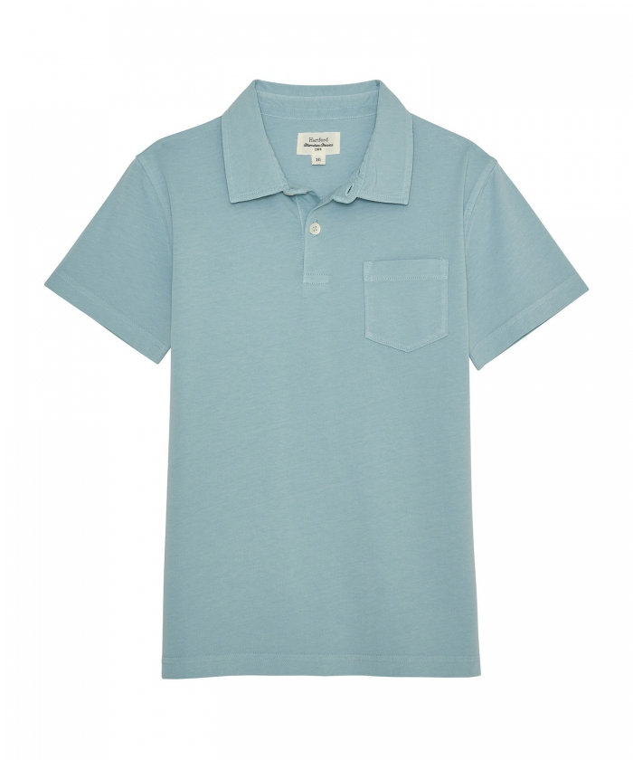 Verdigris cotton jersey polo