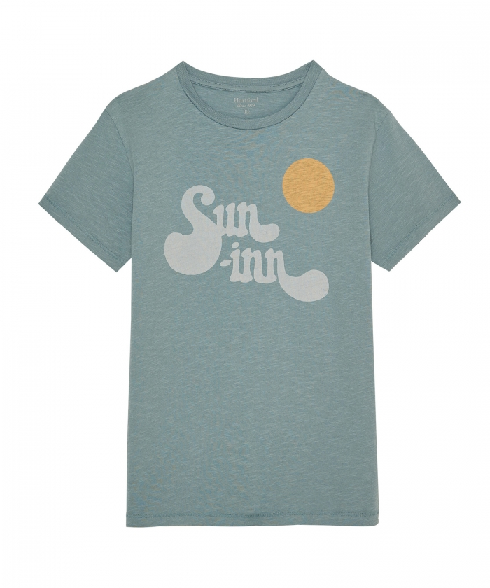 'Sun Inn' verdigris kid tee-shirt