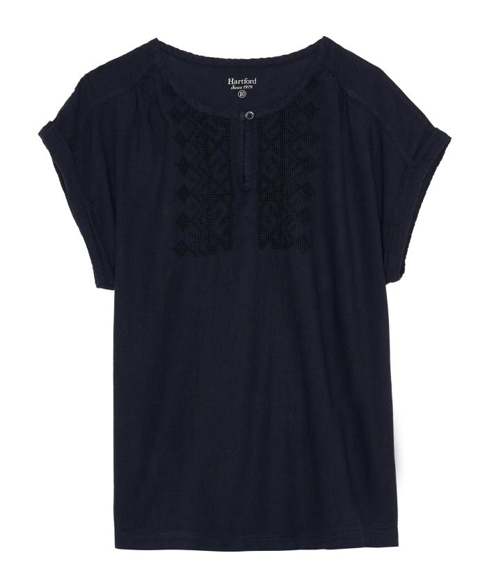 Tee-shirt Teslime brodé bleu