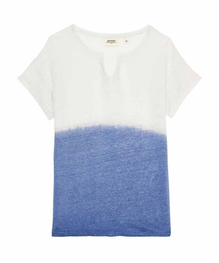 Tee-shirt Toky en lin dip dyed bleu