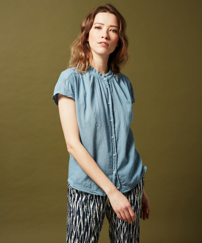 Tee-shirt Tenzim en double fabric bleu horizon