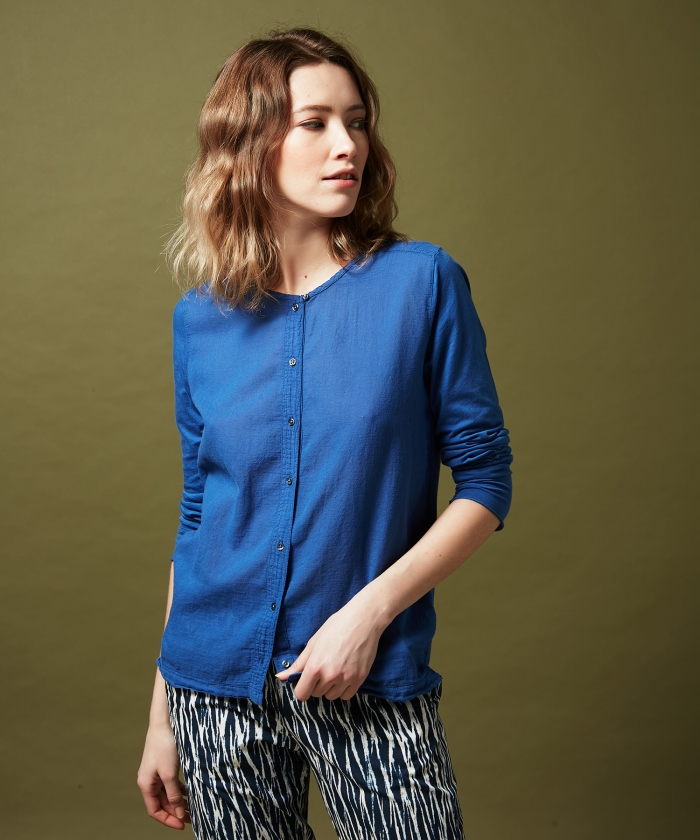 Tee-shirt Tarak en double fabric bleu
