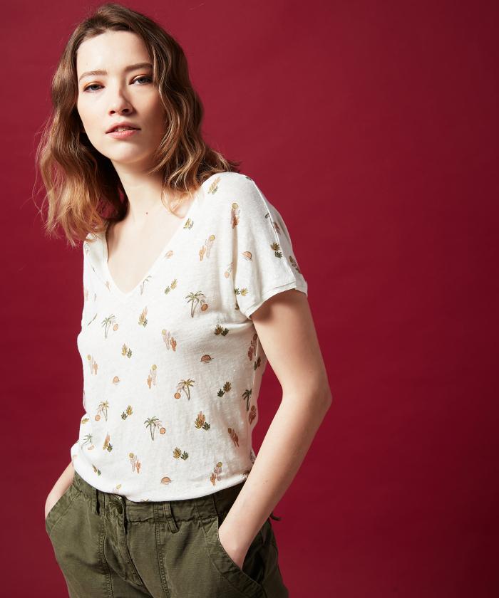 Tee-shirt Tewis en lin imprimé