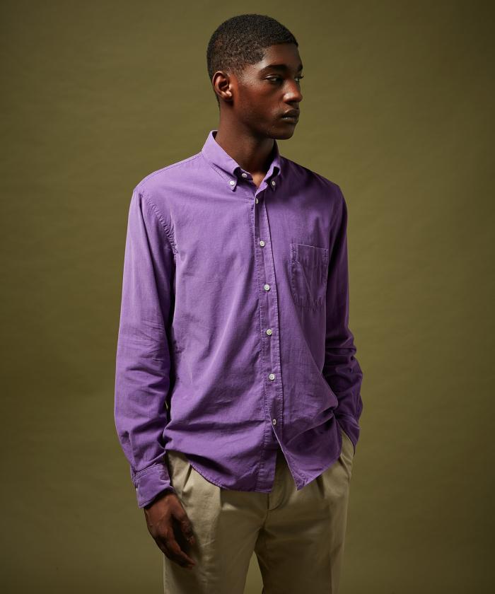 Chemise regular Pitt en velours violet