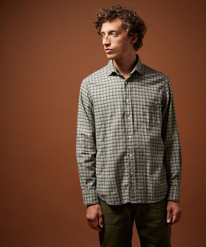 Chemise regular Paul en flanelle grises à carreaux