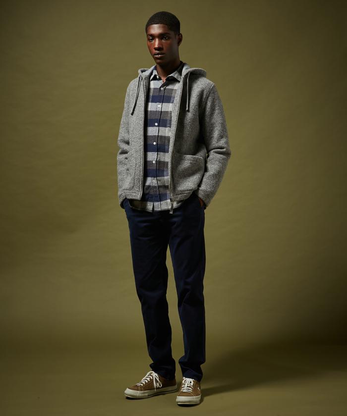 Pantalon Tobby en coton piqué bleu nuit