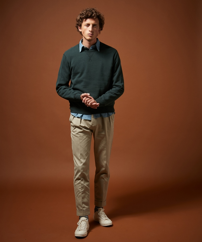 Pantalon chino double-pinces Tom beige