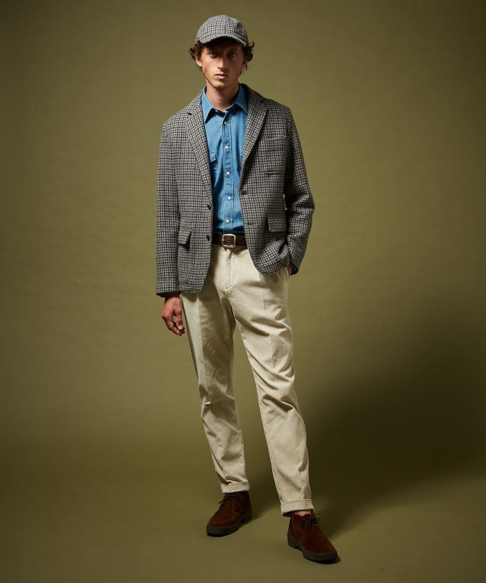 Pantalon double-pinces Tom en velours blanc