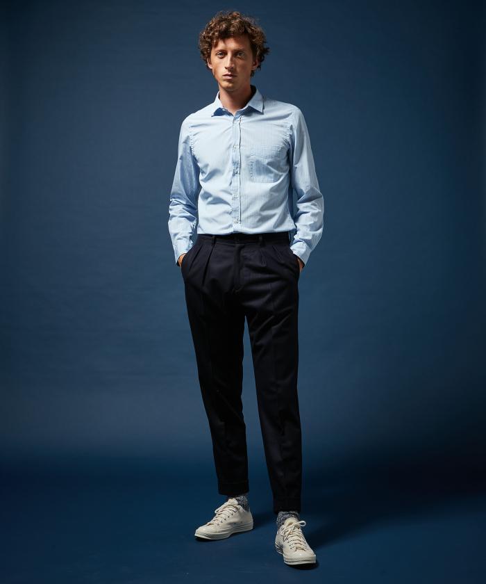 Pantalon Tom double-pinces en laine bleu marine