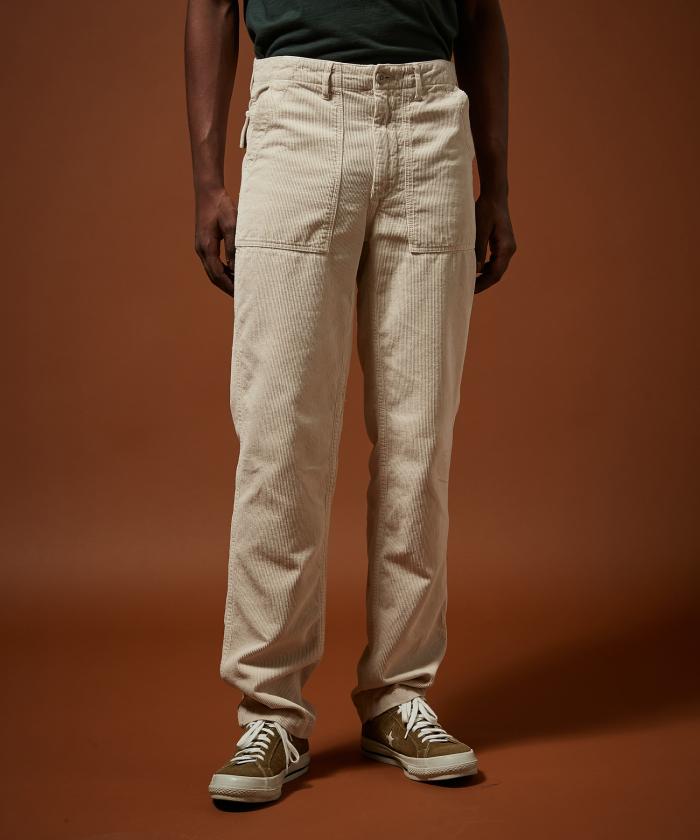 Pantalon Fatigue en velours côtelé craie