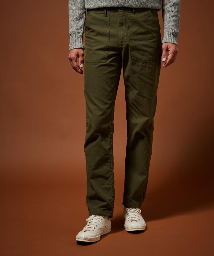 Pantalon Fatigue en chino vert army