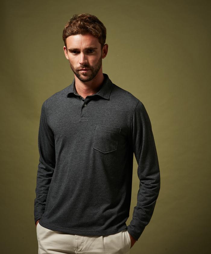 Polo en jersey de coton gris manches longues
