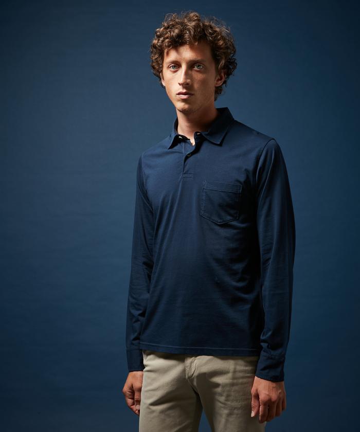 Polo en jersey de coton marine manches longues