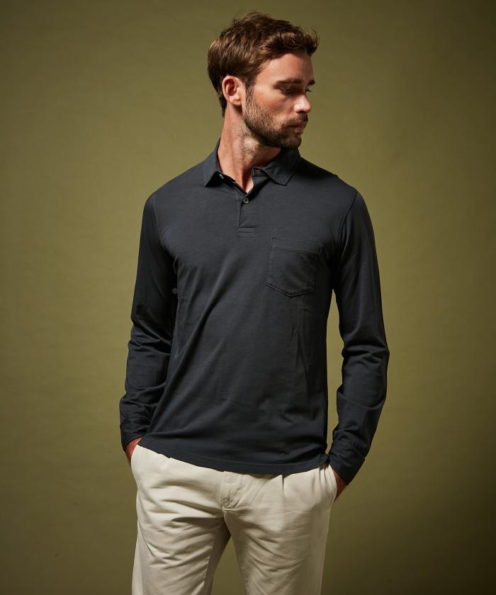 Polo en jersey de coton carbone manches longues