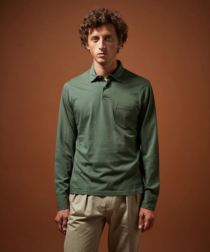 Polo en jersey de coton vert forêt manches longues