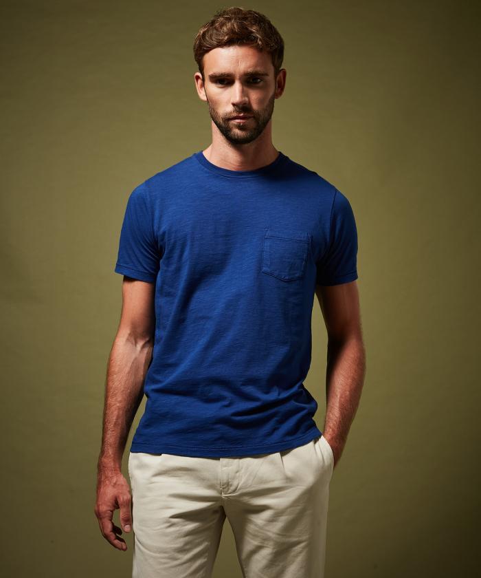 Tee-shirt en coton slub bleu