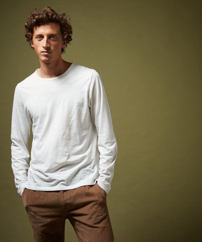 Tee-shirt manches longues coton slub blanc